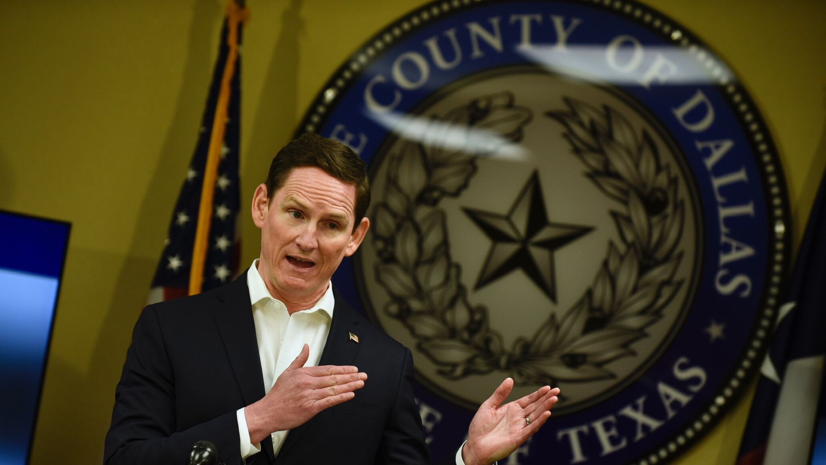 Dallas County Judge Clay Jenkins speaks during a press conference for a COVID-19 update at the Dallas County Office of Homeland Security and Emergency Management in Dallas, on April 14, 2020. (Ben Torres/Special Contributor)
