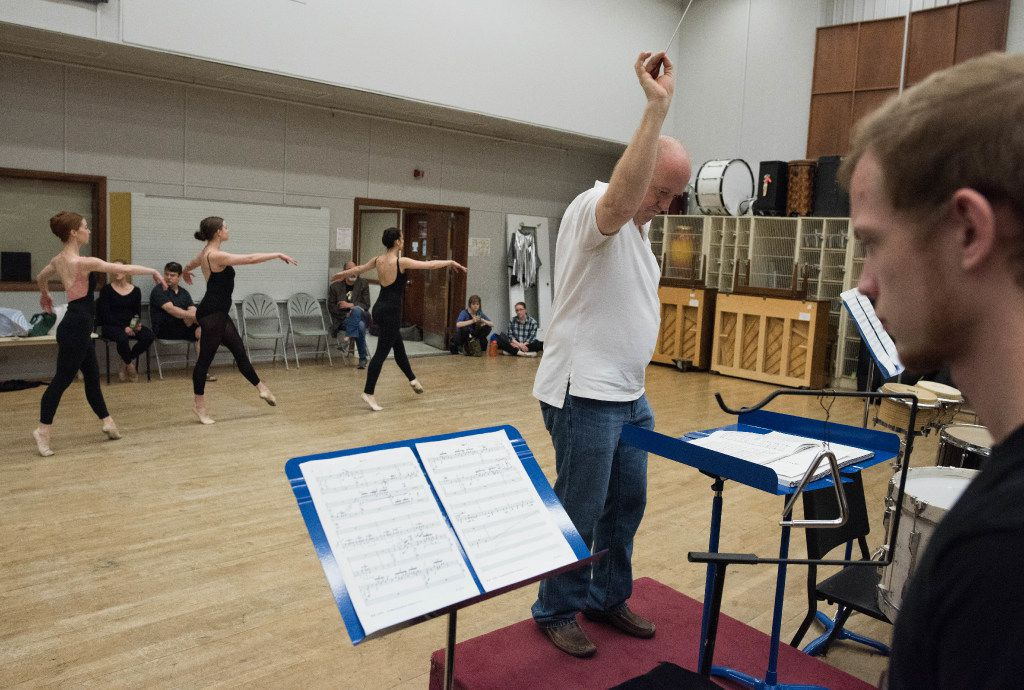 Jon D. Lee, director of the Meadows Percussion Ensemble, conducts as Dallas Neo-Classical Ballet rehearses Ionisation on April, 8, 2017.