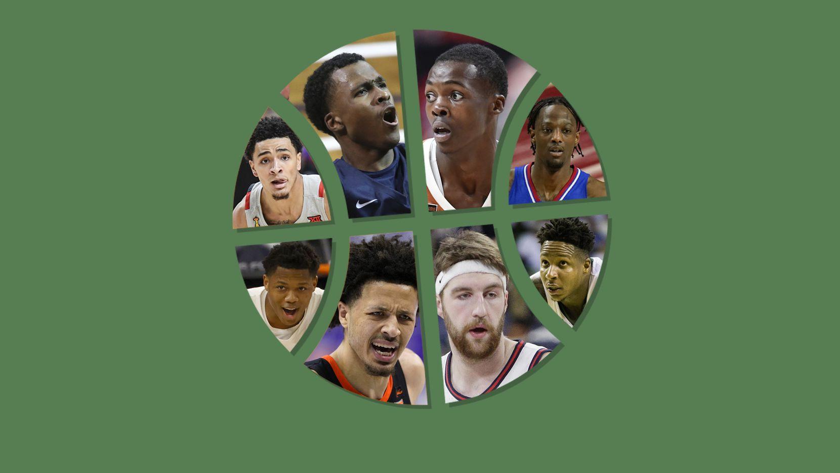Clockwise starting in the top left: Micah Peavy, Max Abmas, Andrew Jones, Marcus Garrett, Mark Vital, Drew Timme, Cade Cunningham and Marcus Sasser.