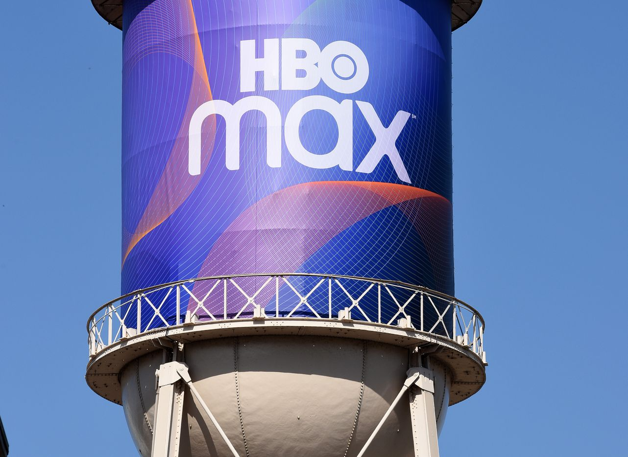 AT&T draped an inconic Warner Bros. Studios water tower in an HBO Max wrap in October at an investor presentation in Burbank, California.