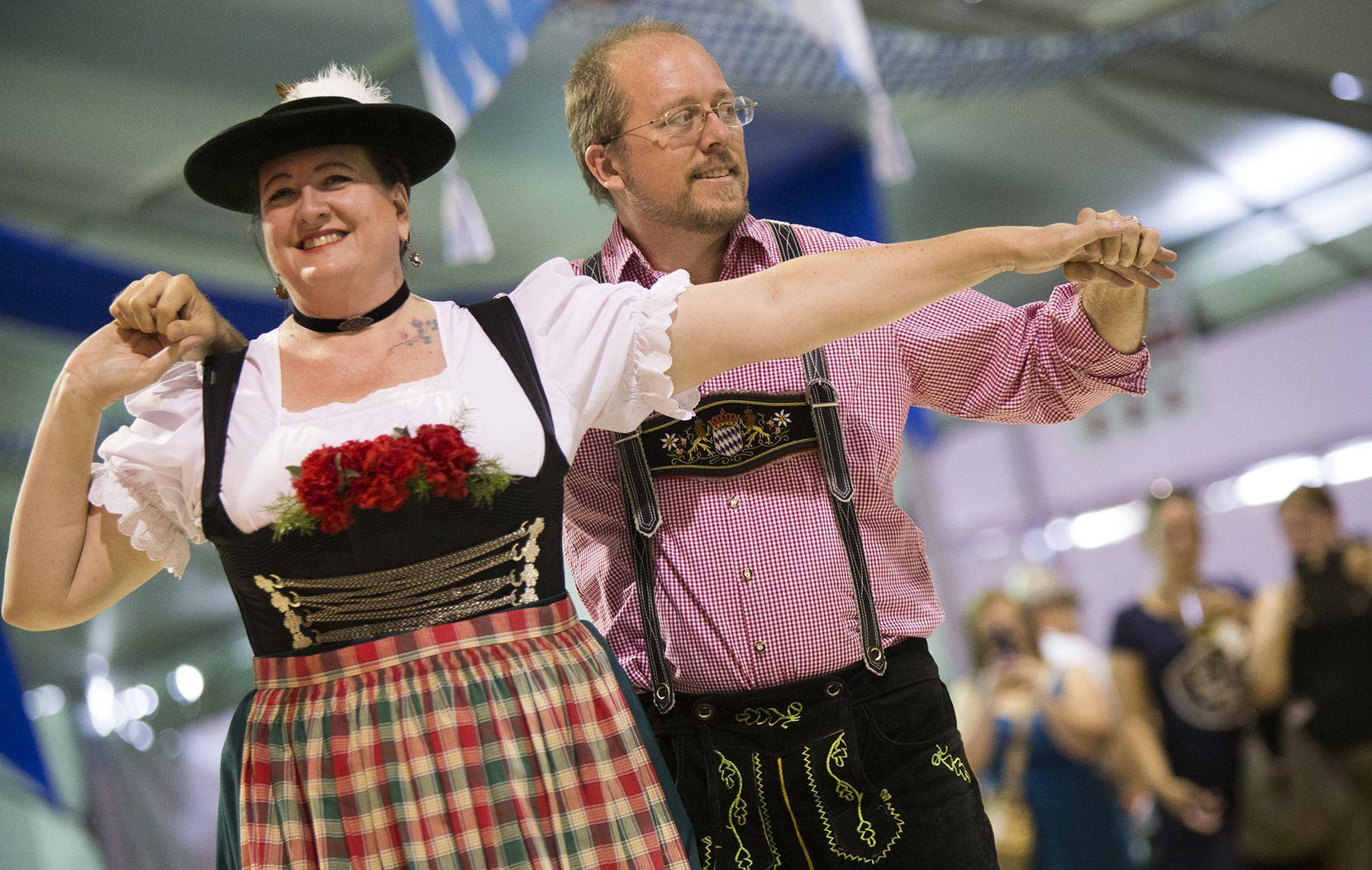 The Alpine Dancers from Garland perform during Addison Oktoberfest.
