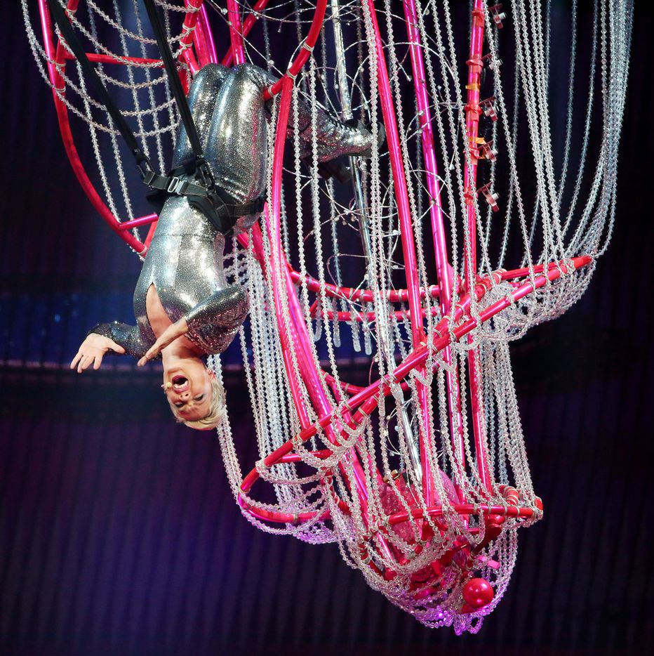 Pink performs as part of her Beautiful Trauma tour at the American Airlines Center in Dallas Tuesday May 1, 2018. (Andy Jacobsohn/The Dallas Morning News)