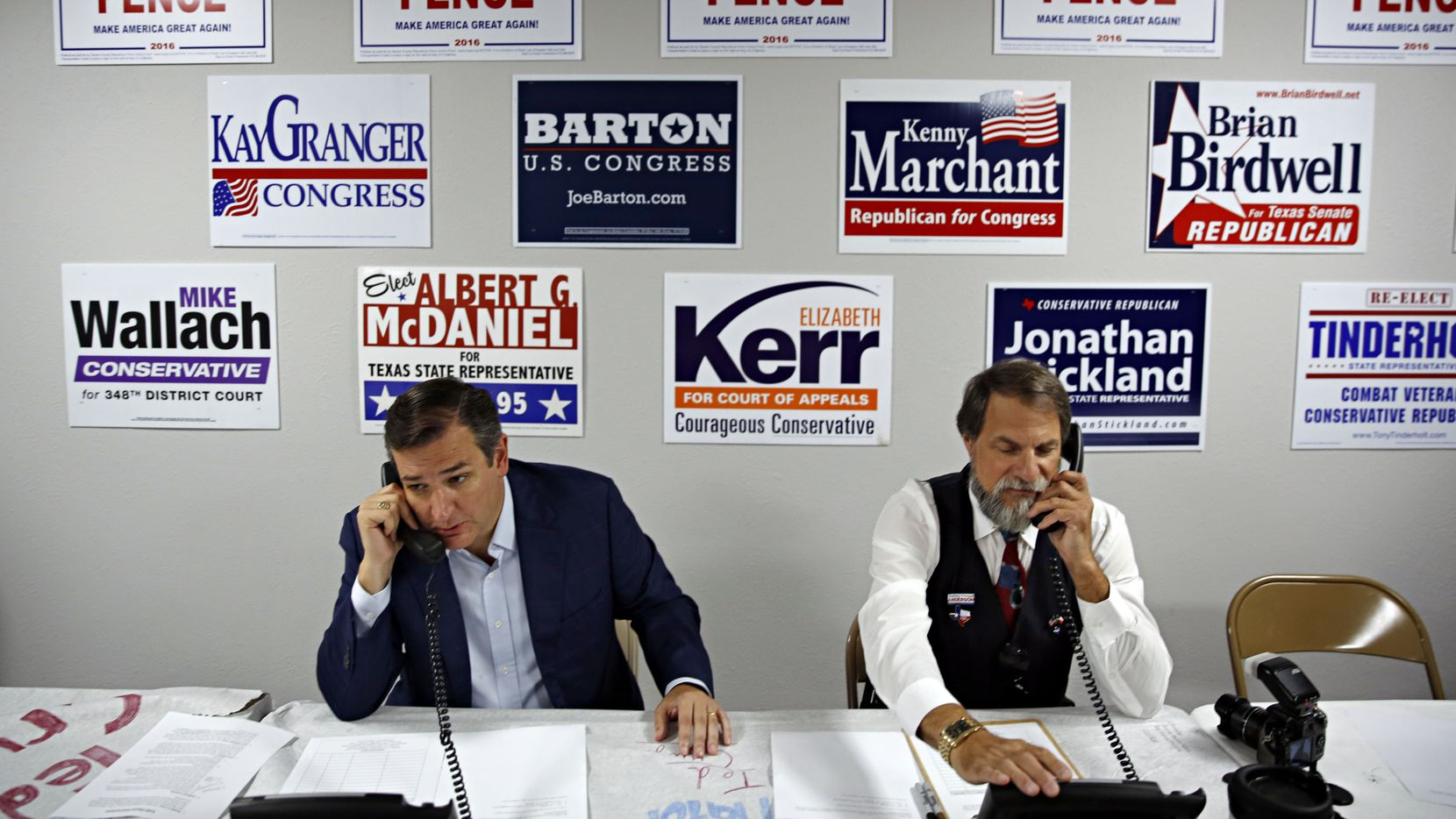 Sen. Ted Cruz (left) and James Ashby make calls at Tarrant County Republican Party headquarters Wednesday, October 5, 2016 in Fort Worth. Cruz, a former presidential candidate, stopped by the facility to meet constituents and work the phone bank.