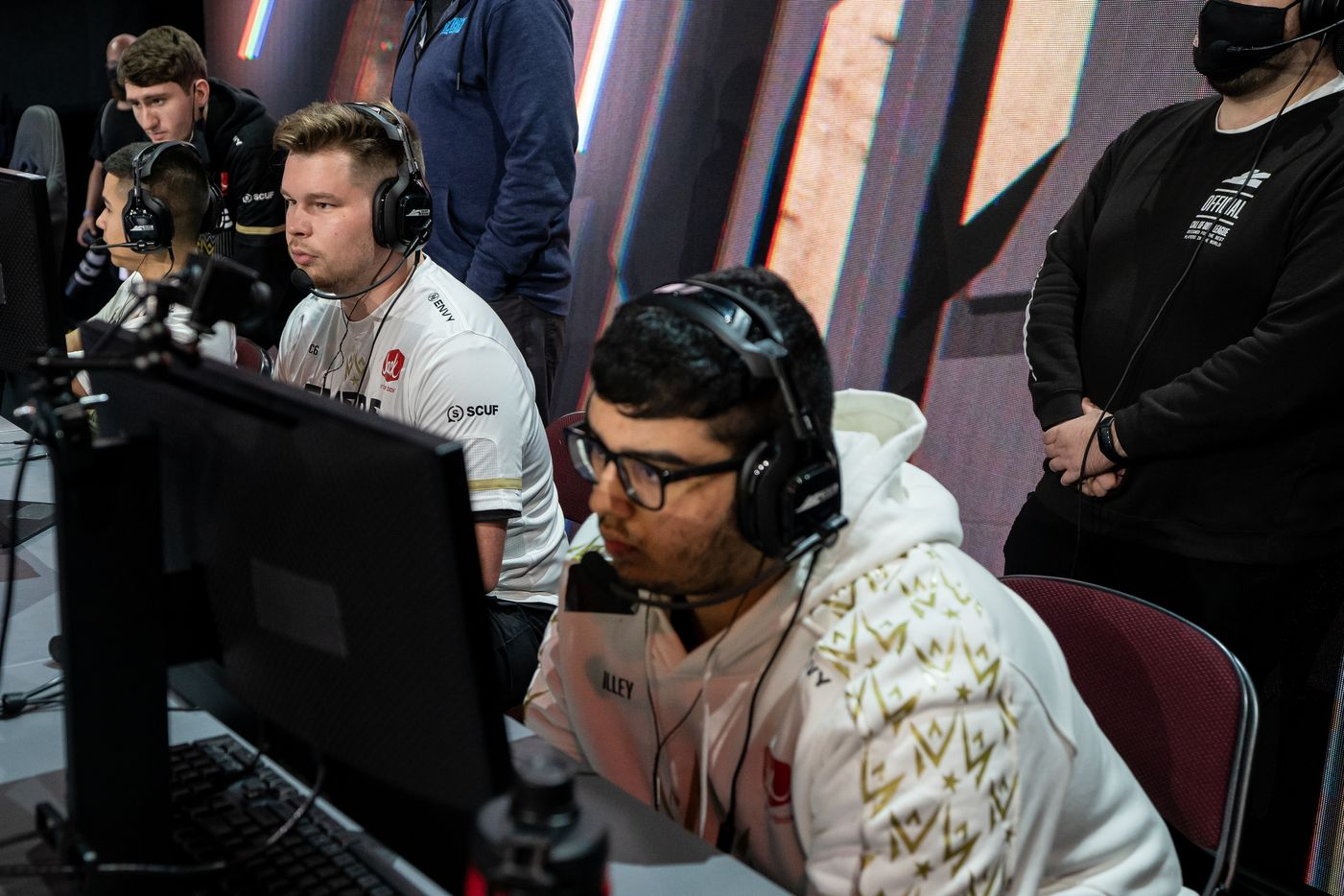 """From left, Ian """"C6"""" Porter and Indervir """"iLLeY"""" Dhaliwal of the Dallas Empire prepare for their elimination match against the Toronto Ultra at the Call of Duty league playoffs at the Galen Center on Saturday, August 21, 2021 in Los Angeles, California. (Justin L. Stewart/Special Contributor)"""