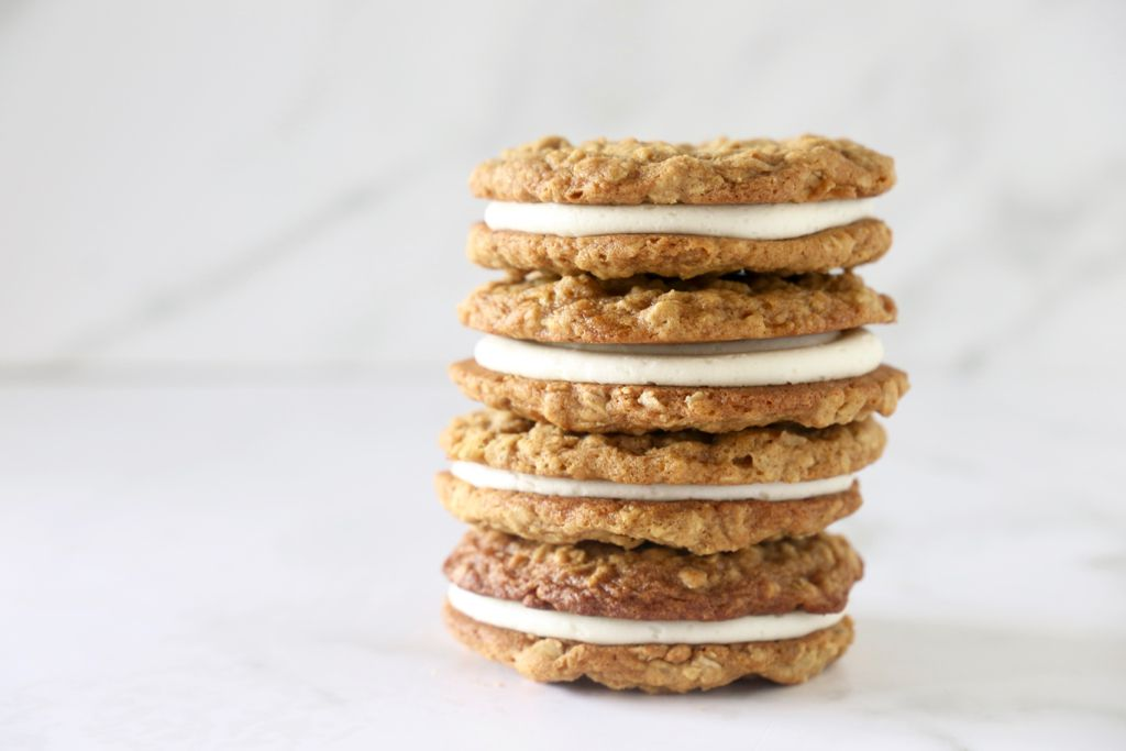 Homemade oatmeal cream pie sandwich