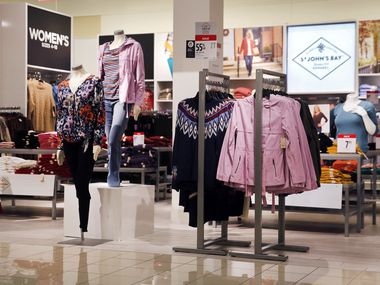 Women's St. John's Bay brand clothing is on display inside the J.C. Penney at Timber Creek Crossing in Northeast Dallas.