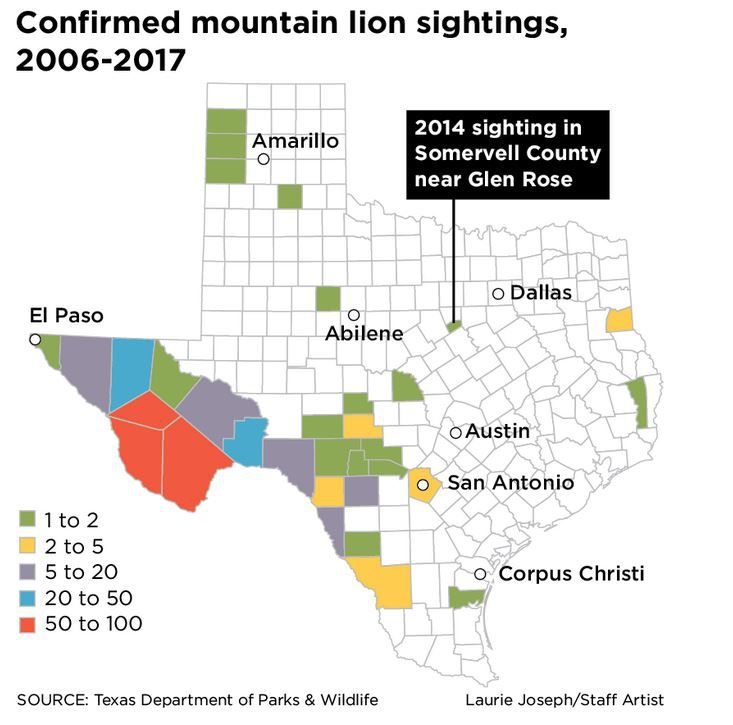 Confirmed sightings are typically confined to west and southwestern parts of the state, along the Mexican border.