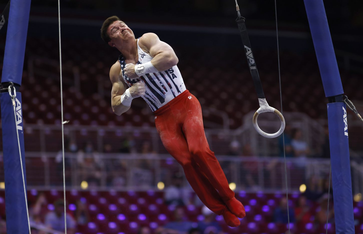 Brody Malone competes on the rings during day 2 of the men's 2021 U.S. Olympic Trials at America's Center on Saturday, June 26, 2021 in St Louis, Missouri.(Vernon Bryant/The Dallas Morning News)