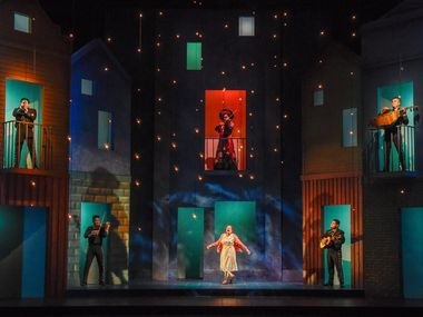 "Gigi Cervantes (bottom center) stars as Amalia, whose memory loss and love of mariachi music spark the plot of ""American Mariachi,"" which is receiving an online only production by Dallas Theater Center. Cervantes is surrounded on the two-story set by the band Mariachi Imperial de Dallas."