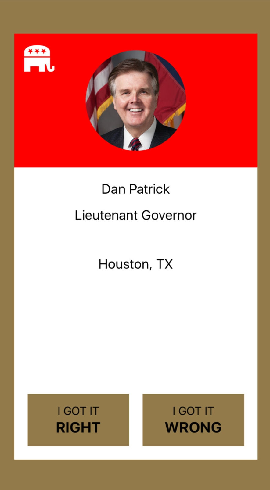 Screenshot of the Texas Elected Officials App on iOS