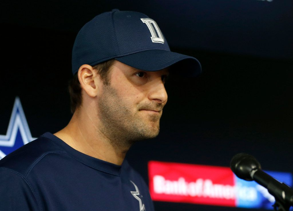 Dallas Cowboys quarterback Tony Romo pauses while reading his statement during a press conference at Ford Center at the Star in Frisco, Texas, Tuesday, Nov. 15, 2016. (Jae S. Lee/The Dallas Morning News)