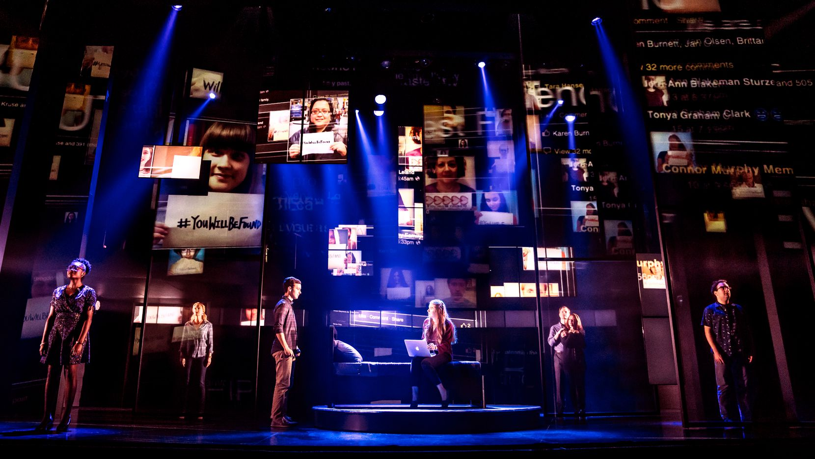 """""""Dear Evan Hansen"""" makes smart use of social media projections to reflect teen angst in the Internet age. The touring production of the Broadway show is being presented at the Music Hall at Fair Park by Dallas Summer Musicals."""