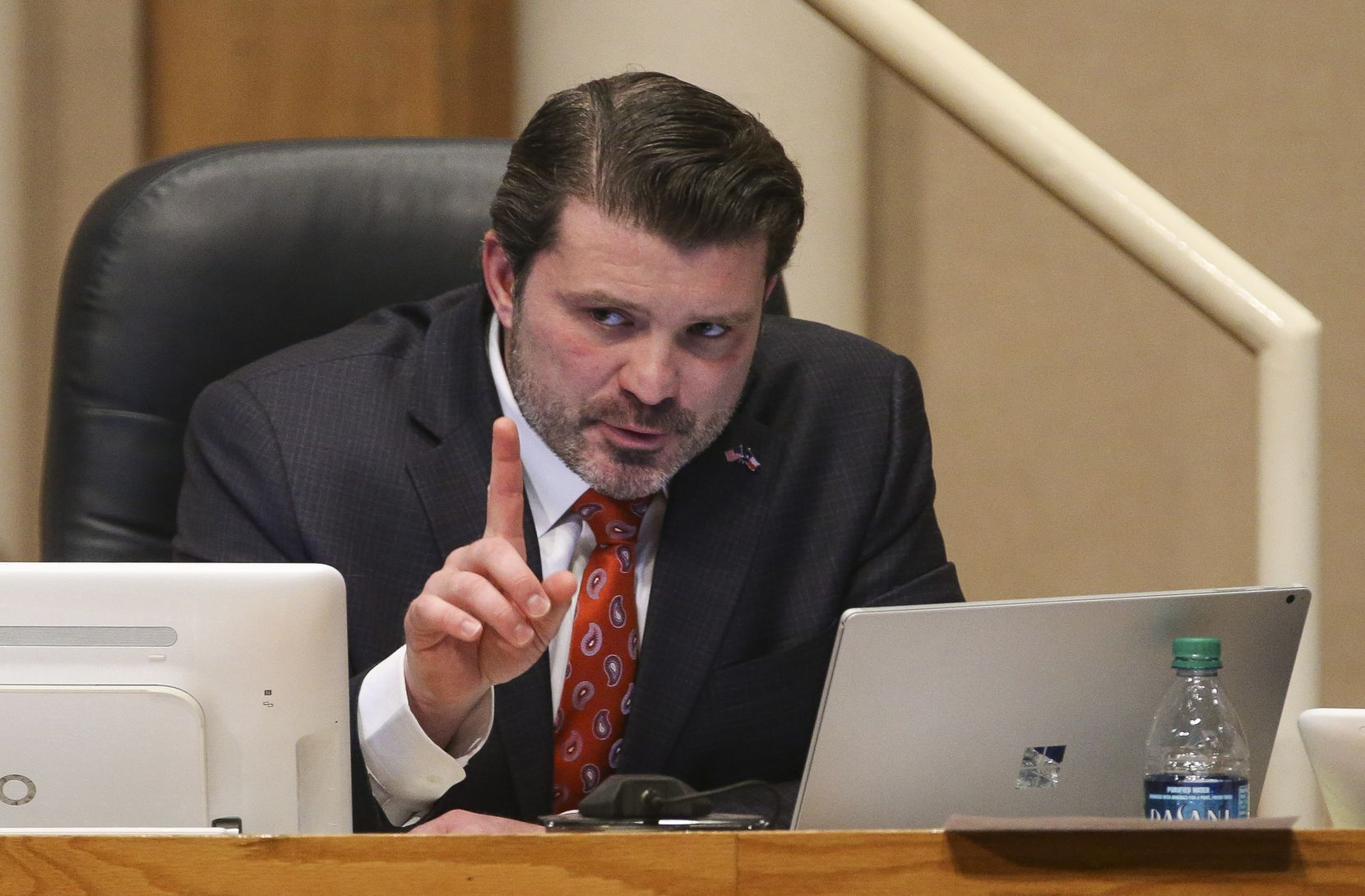 District 2 Commissioner J.J. Koch speaks during a meeting of The Dallas County Commissioners Court on Tuesday, Jan. 15, 2019 at the Dallas County Administration Building in Dallas. (Ryan Michalesko/The Dallas Morning News)