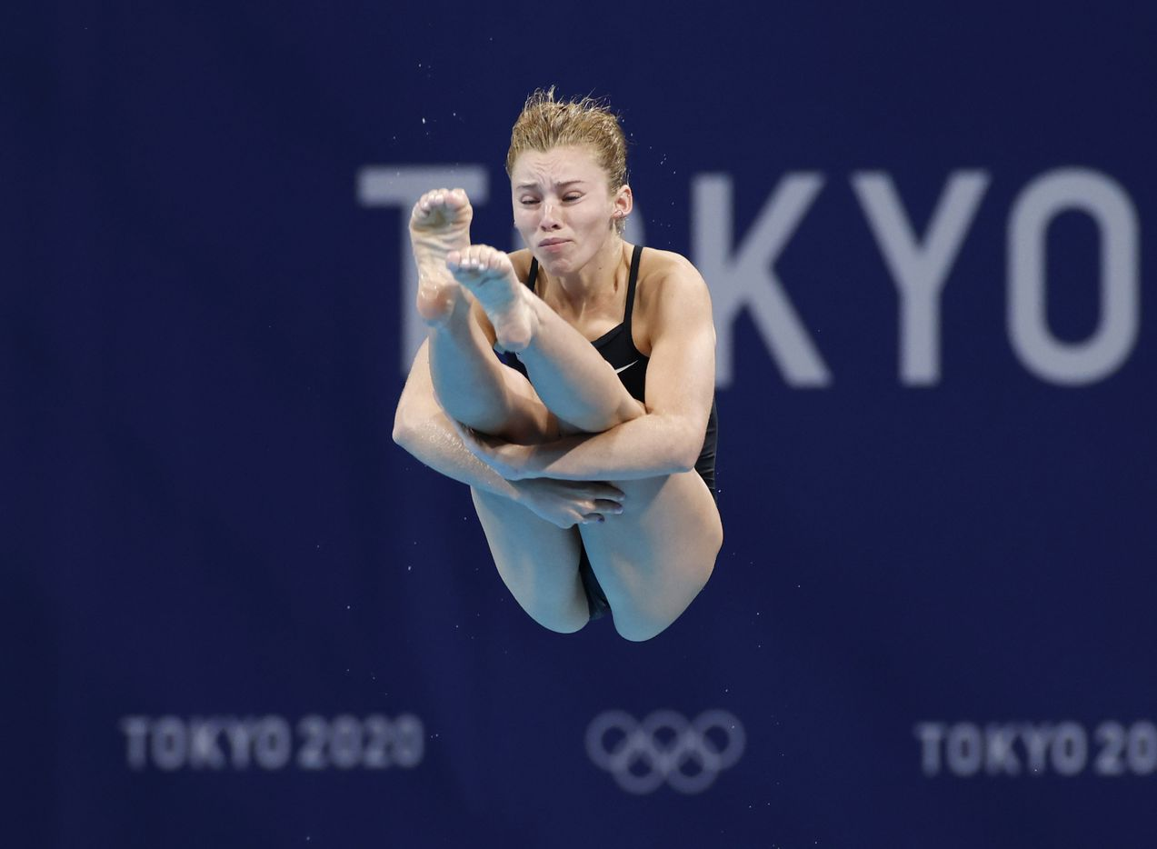 USA's Hailey Hernandez dives in round 5 of 5 in the women's 3 meter springboard semifinal competition during the postponed 2020 Tokyo Olympics at Tokyo Aquatics Centre, on Saturday, July 31, 2021, in Tokyo, Japan. Hernandez finished the day in 10th place with a score of 291.60 to qualify for the next round. (Vernon Bryant/The Dallas Morning News)