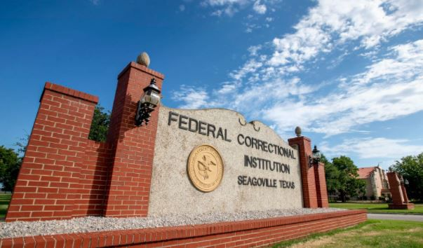 The entrance to the Federal Correctional Institution in Seagoville.