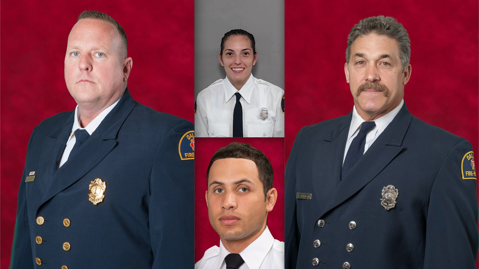 Dallas Fire-Rescue identified the four firefighters who were injured at the Highland Hills Apartments explosion on Sept. 29. Clockwise from left: Capt. Christopher Gadomski, Officer Pauline Perez, Driver Engineer Ronald W. Hall and Officer Andrew D. Curtis.