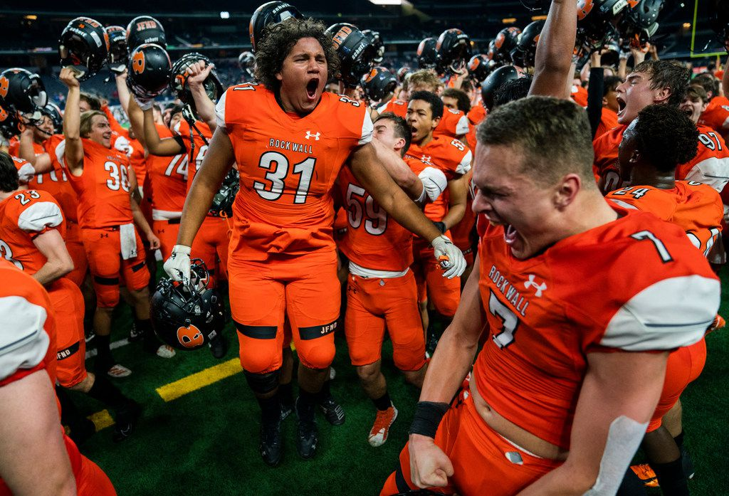 Rockwall celebrates a 60-59 win over Allen in a Class 6A Division I area-round high school football playoff game between Allen and Rockwall on Friday, November 22, 2019 at AT&T Stadium in Arlington. (Ashley Landis/The Dallas Morning News)