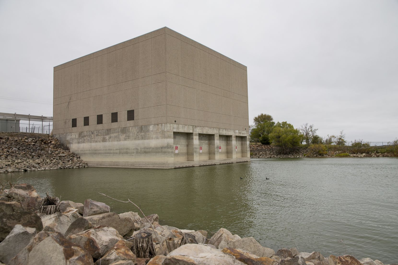 The North Texas Municipal Water District water pump at Lavon Lake in Wylie, photographed Thursday, Oct. 29. Eighty communities, home to about 1.8 million customers, get their water, directly or indirectly, from the district.