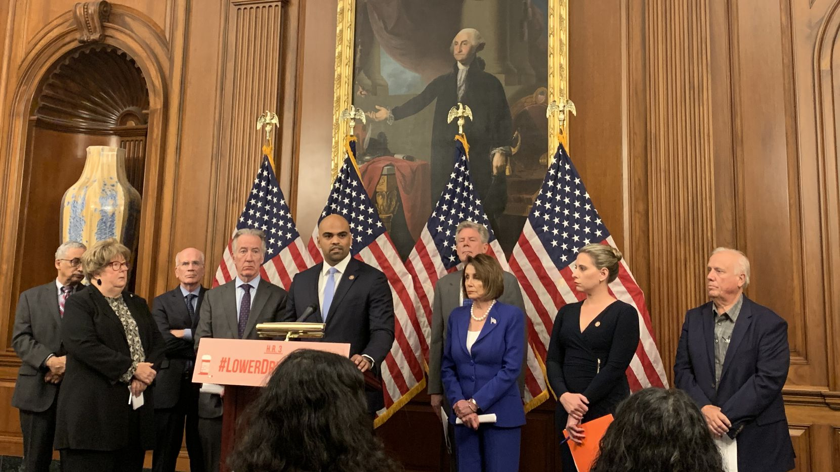 Rep. Colin Allred, D-Dallas, attends a news conference about a bill to lower the cost of prescription drugs with House Speaker Nancy Pelosi (right) and others at the Capitol on Wednesday, Oct. 16, 2019, in Washington, D.C.