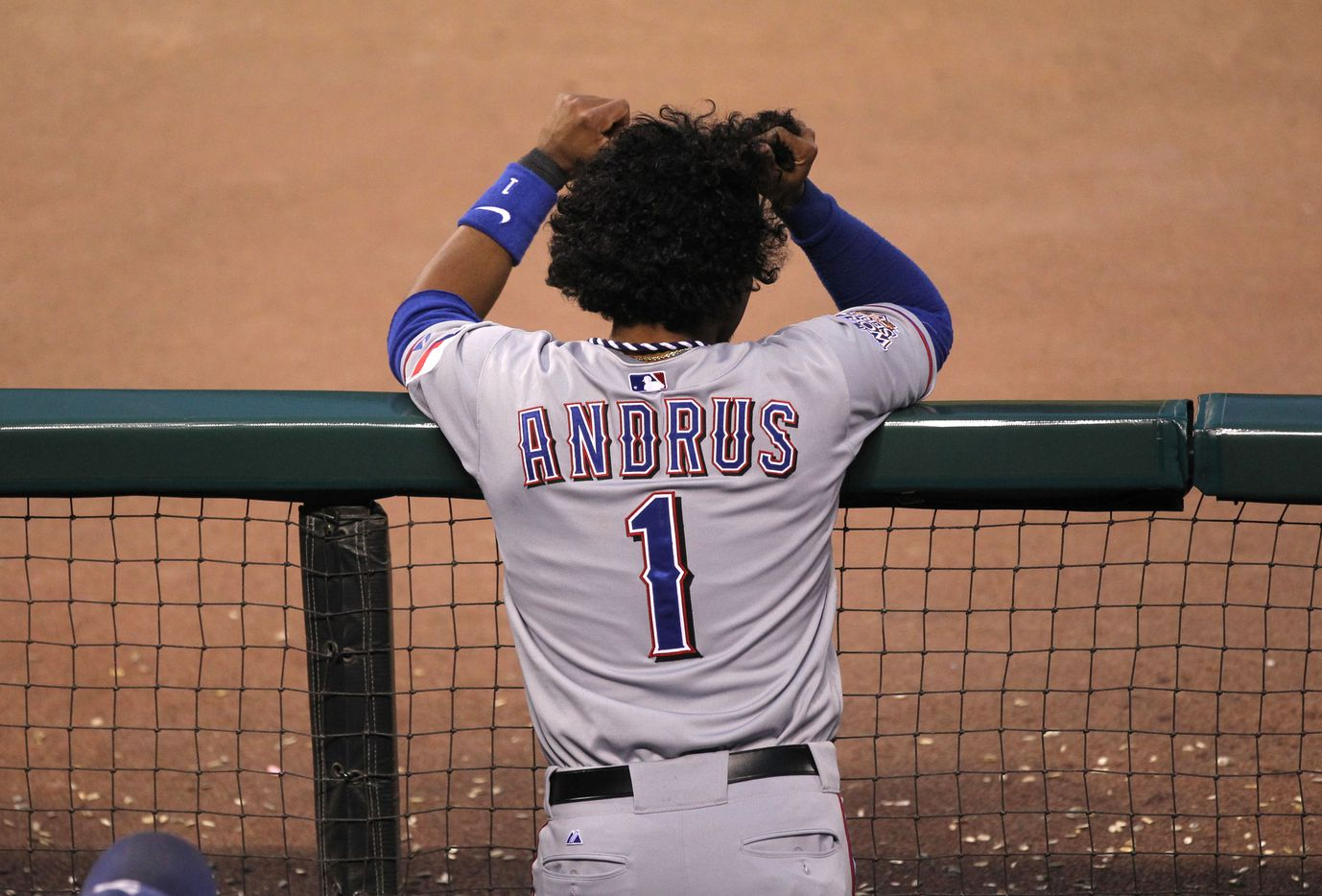 Texas Rangers Elvis Andrus pulls his hair as he watches the game against the San Francisco Giants during World Series game two on October 28, 2010, at AT&T Park in San Francisco, California.   (Louis DeLuca/The Dallas Morning News)