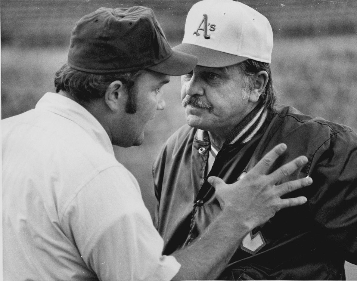 Oakland Athletics manager Dick Williams and umpire Larry Barnett argued over a on June 28, 1973.