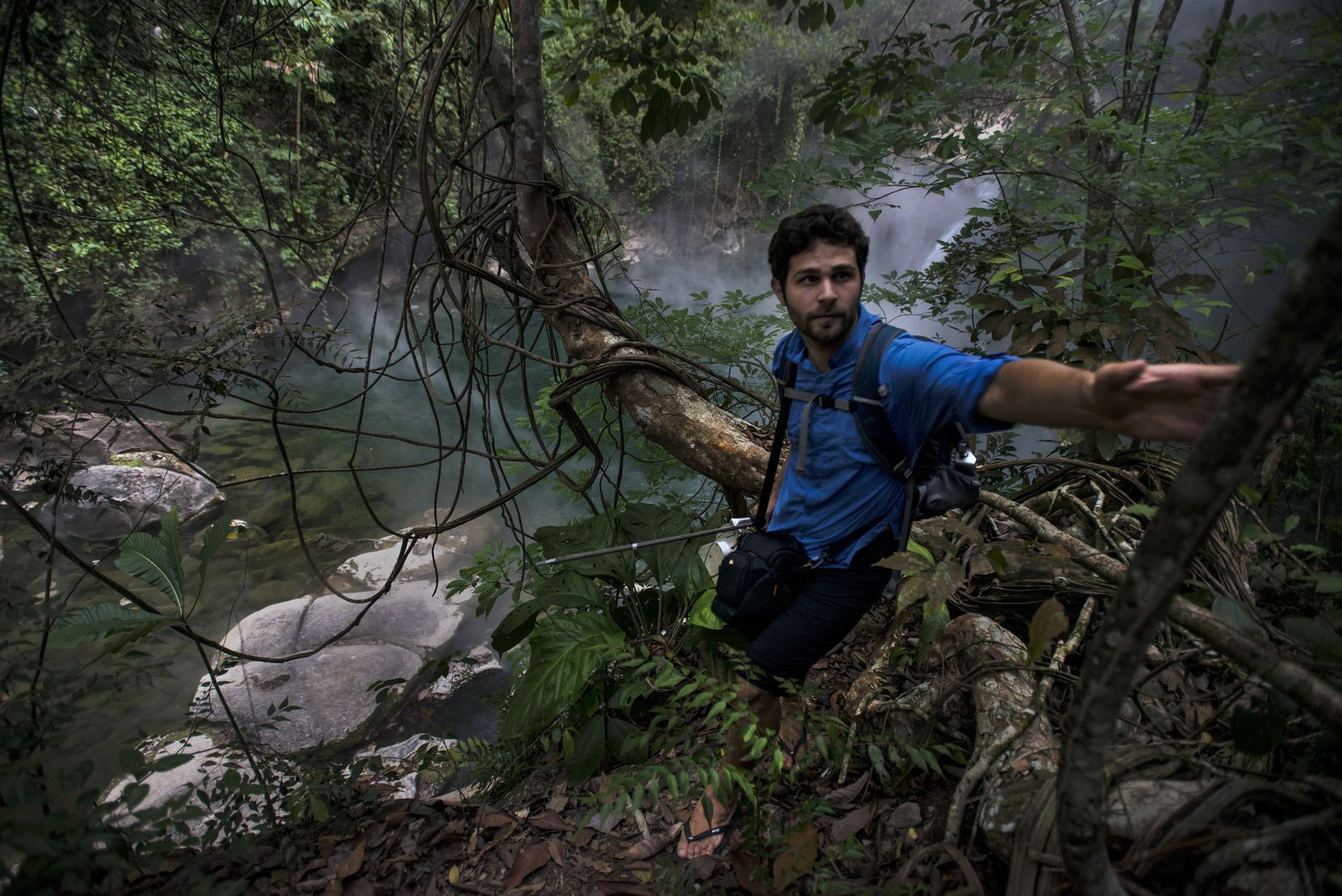 Andrés Ruzo is shown during his field work season in the Peruvian Amazon.