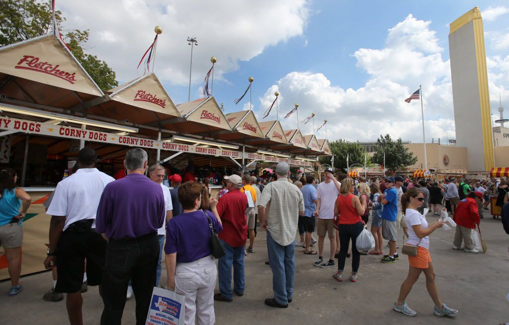 A typical scene at the Fletcher's Corny Dog stands at the State Fair of Texas in Fair Park.