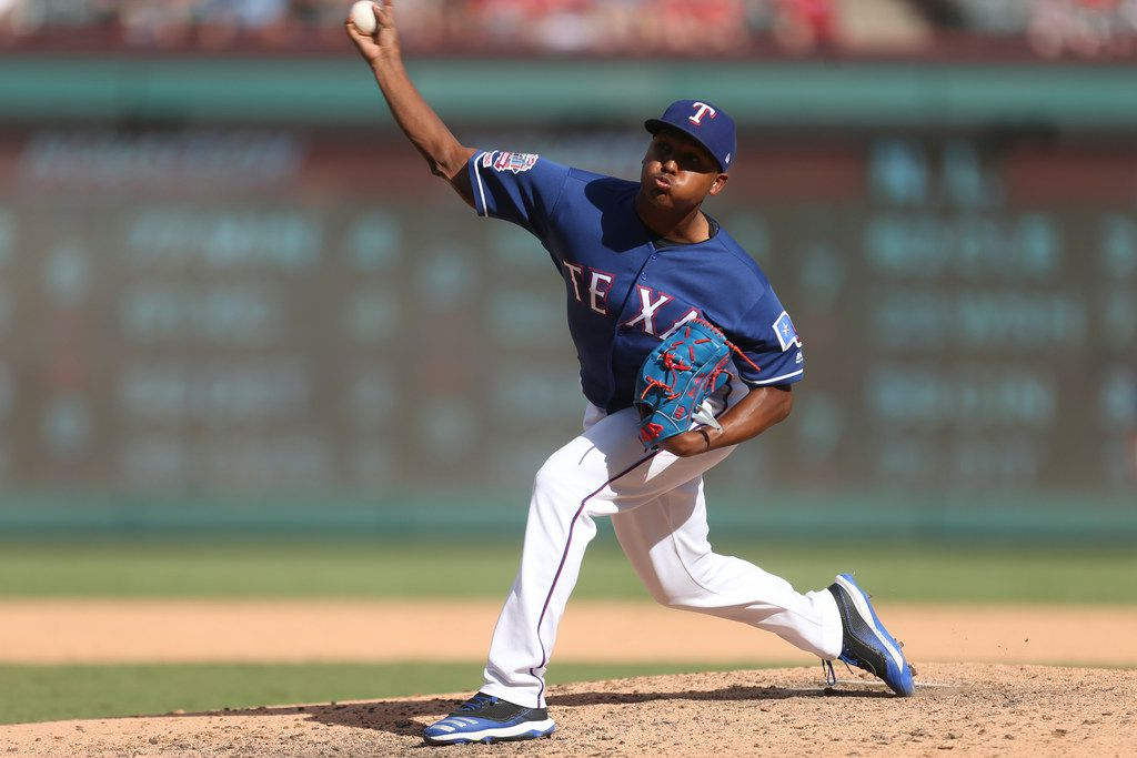 Texas Rangers relief pitcher Jose Leclerc (25) pitches in the seventh inning during a MLB game between Texas Rangers and New York Yankees on Sunday, September 29, 2019 at Globe Life Park in Arlington, Texas. (Shaban Athuman/Staff Photographer)