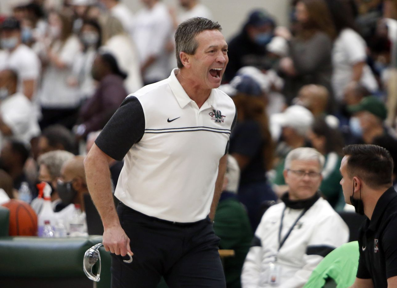 Waxahachie head coach Greg Gober reacts after a first half score in their game against Duncanville. The two teams played their Class 6A Region ll boys final  playoff basketball game at Waxahachie High School in Waxahachie on March 5, 2021. (Steve Hamm/ Special Contributor)