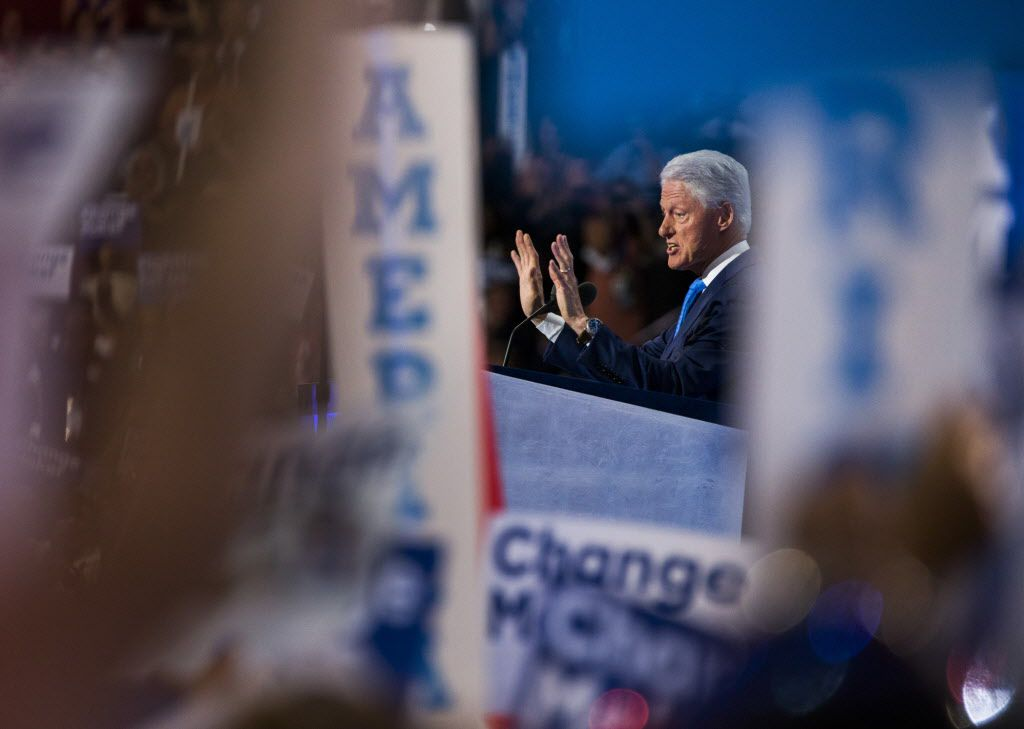 Former President Bill Clinton speaks on behalf of his wife, Hillary Clinton during day two of the Democratic National Convention on Tuesday, July 26, 2016 at the Wells Fargo Center in Philadelphia, Pennsylvania.