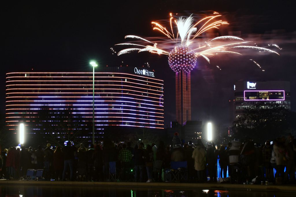 Fireworks from Reunion Tower ring in the new year during the New Year's Eve Party on the plaza outside of City Hall in Dallas on Jan. 01, 2020.
