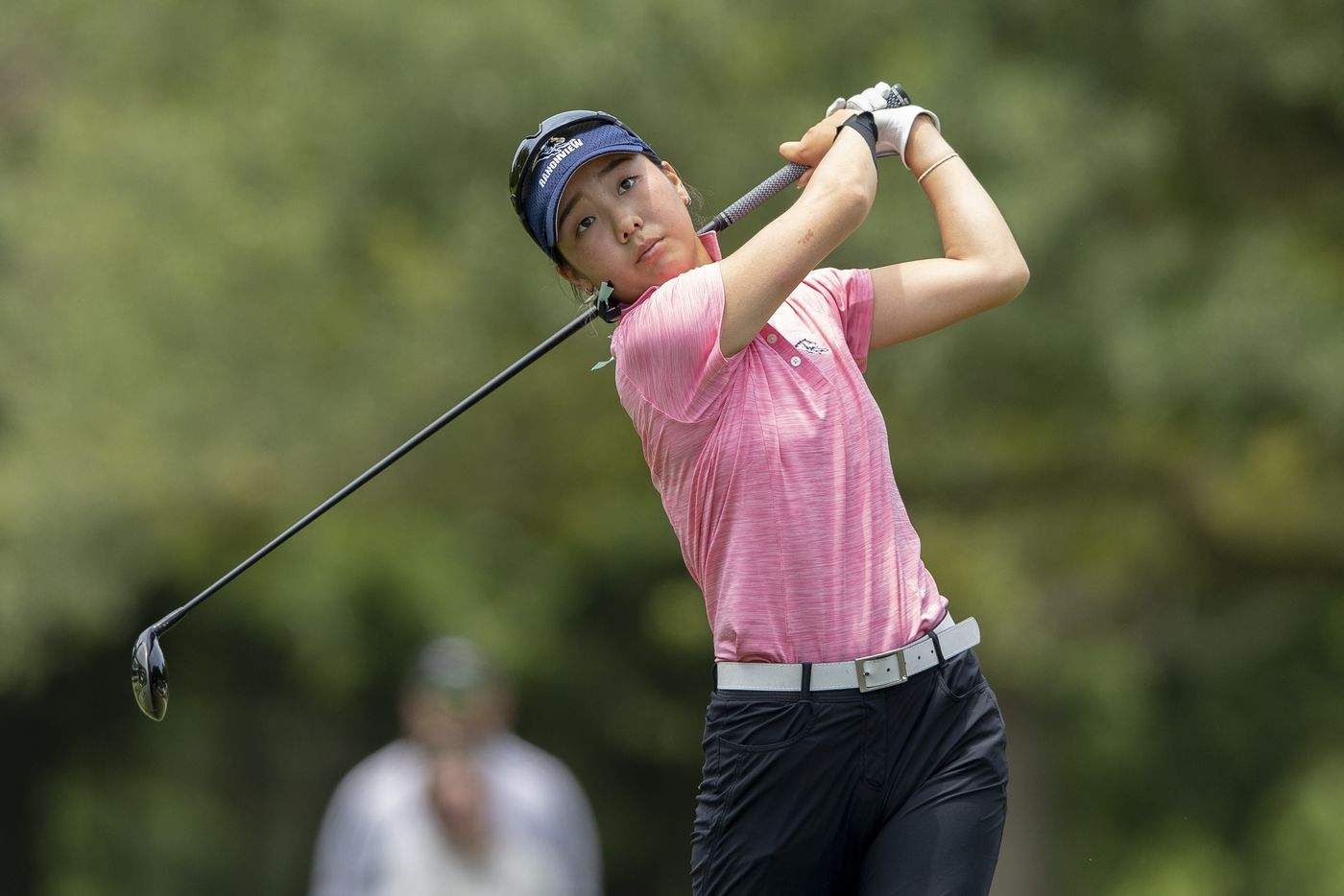 Carrollton Ranchview's Bohyun Park hits from the 12th tee box during the final day of the UIL Class 4A girls golf tournament in Kyle, Tuesday, May 11, 2021. (Stephen Spillman/Special Contributor)