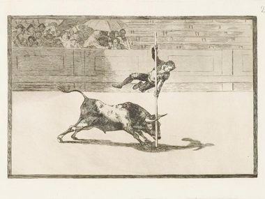 La Tauromaquia etching and aquatint reveal the agility and daring of the bullfighter in the Madrid ring.  It is from 1814-16.