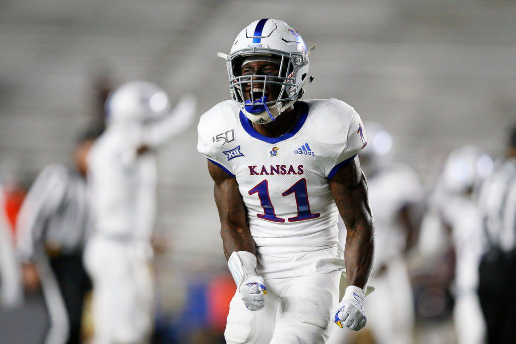 Kansas safety Mike Lee reacts during the second half of an NCAA college football game against Boston College in Boston, Friday, Sept. 13, 2019.