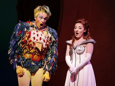 Papageno, played by Sean Michael Plumb, left, and Pamina, played by Andrea Carroll, perform during a dress rehearsal of 'The Magic Flute' at Winspear Opera House in Dallas, TX, on Oct. 15, 2019.