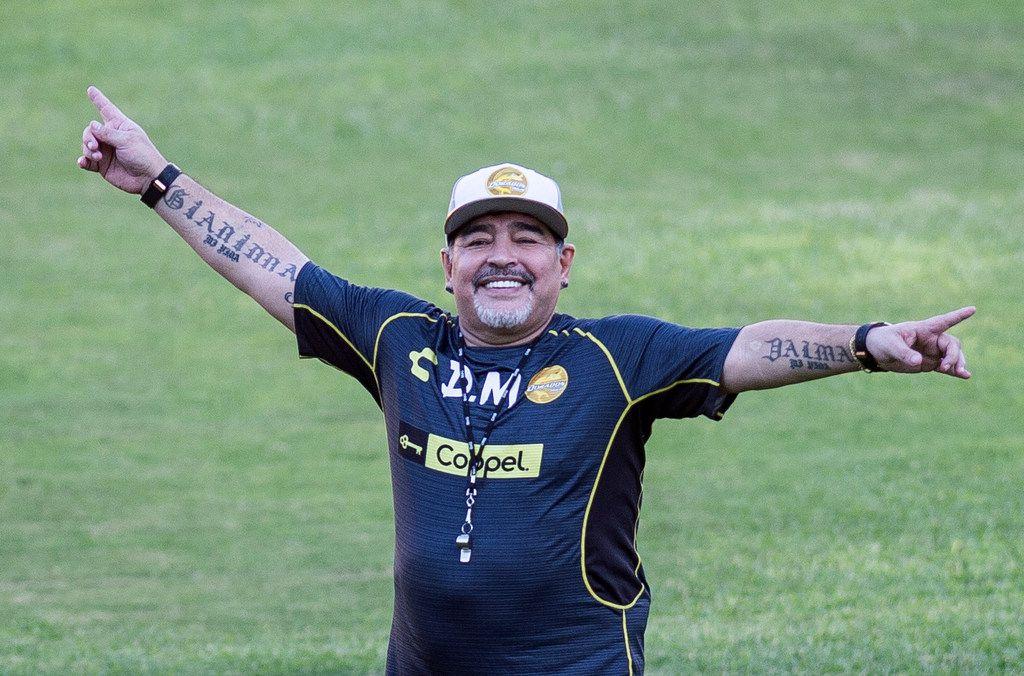 Diego Armando Maradona durante su estadía como técnico de Dorados de Sinaloa, el 10 de septiembre de 2018.