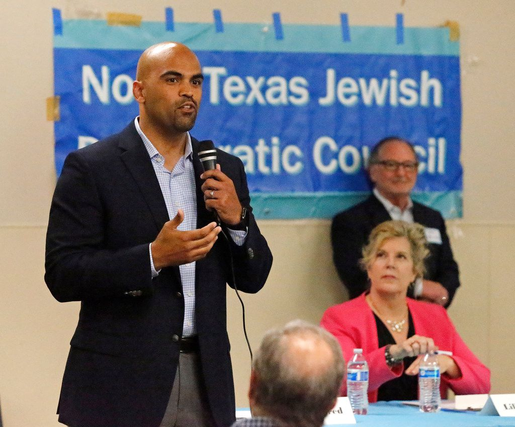 Lillian Salerno, candidate for the 32nd Congressional District, looks on as candidate Colin Allred answers a written question at a forum hosted by the North Texas Democratic Jewish Council at Walnut Hill Recreation Center in Dallas on April 23, 2018.