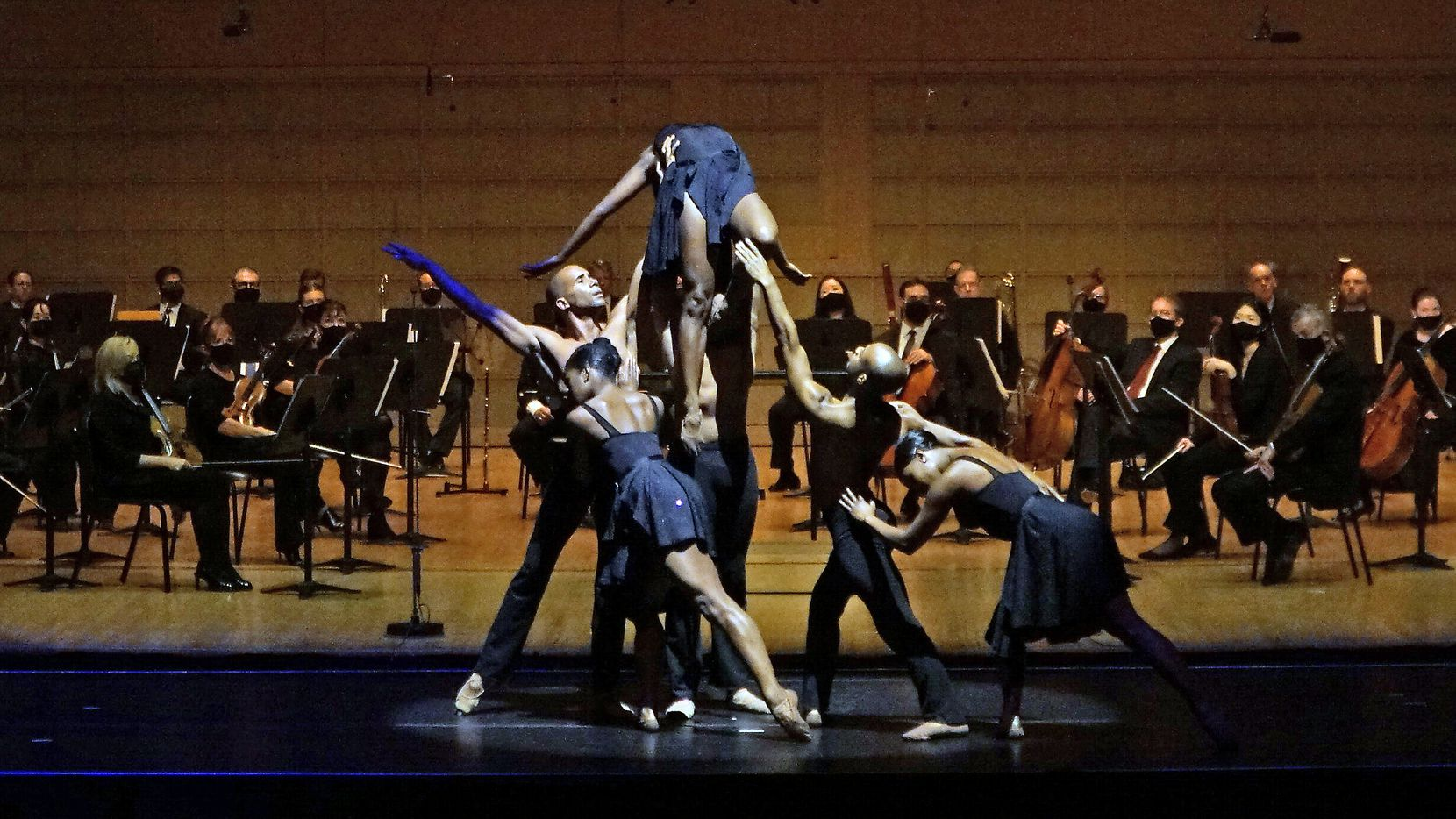 The Dallas Black Dance Theatre performs with the Dallas Symphony Orchestra at the Meyerson Symphony Center in Dallas on Nov. 11.
