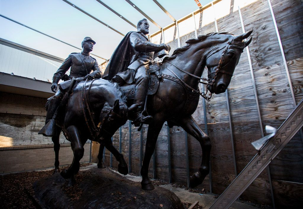 Alexander Phimister Proctor's statue of Robert E. Lee (right) and a young soldier since its removal from the park formerly known as Lee Park,  where it stood for over 80 years until it's removal in Sept. 2017.