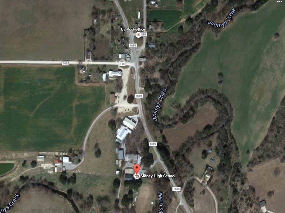 The little Sidney school district didn't hold an election for a decade. Here's a Google Earth view of the little town in central Texas.