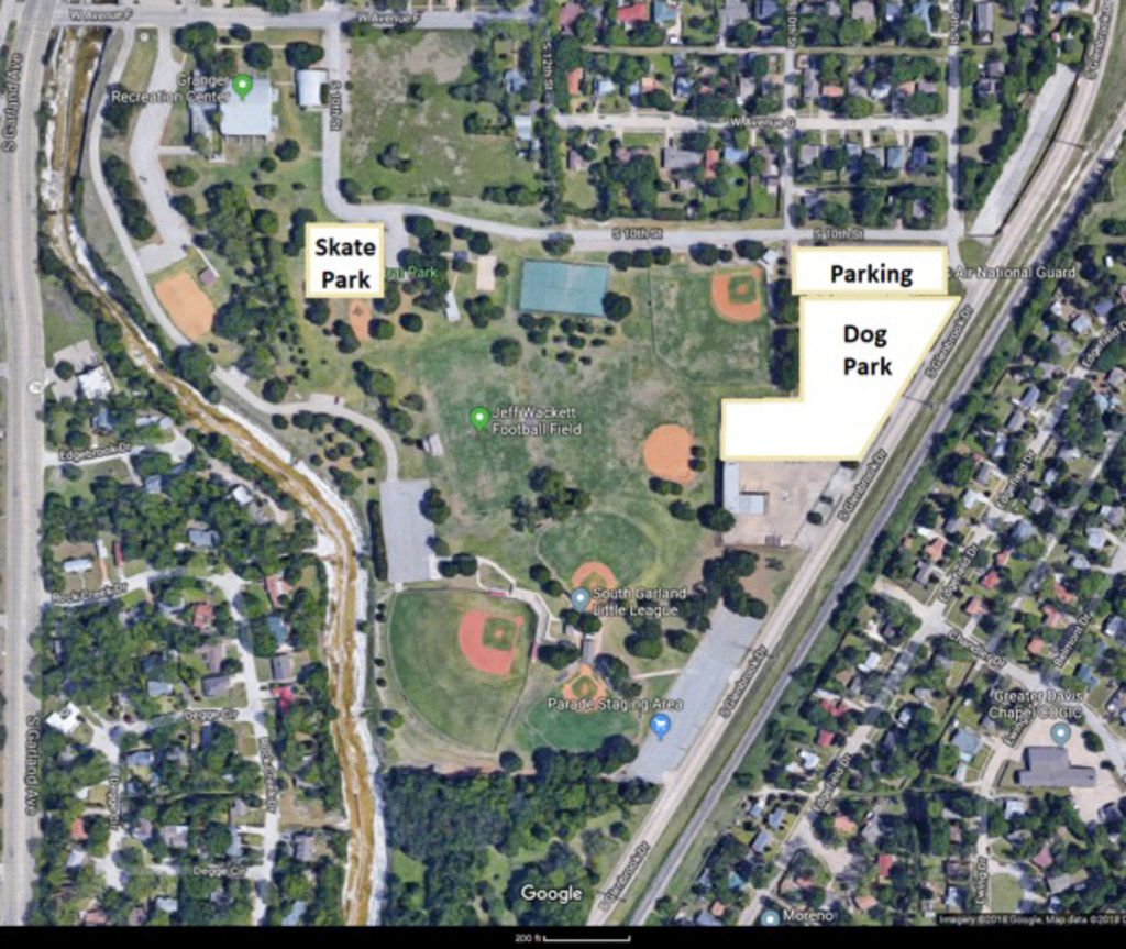 Last August, the Garland Parks and Recreation Board approved a change, moving the sites of the city's first-ever dog park and skate park. Both will remain at Central Park but will be at least 150 feet from residences under the plan, as shown.