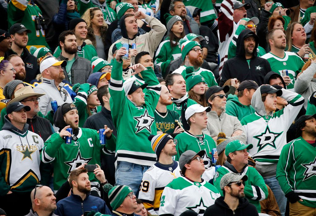 Dallas Stars fans get excited as they look to score against the Nashville Predators in the second period of the NHL Winter Classic hockey game at the Cotton Bowl in Dallas, Wednesday, January 1, 2020. (Tom Fox/The Dallas Morning News)