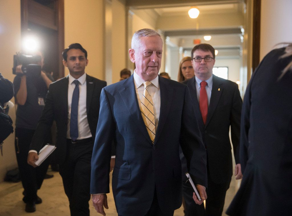 Defense Secretary-designate, retired Marine Corps Gen. James Mattis arrives for a meeting with Senate Armed Services Committee member Sen. Kirsten Gillibrand, D-N.Y., Wednesday, Jan. 4, 2017, on Capitol Hill in Washington. The committee will hold the confirmation for Mattis.  (AP Photo/J. Scott Applewhite)