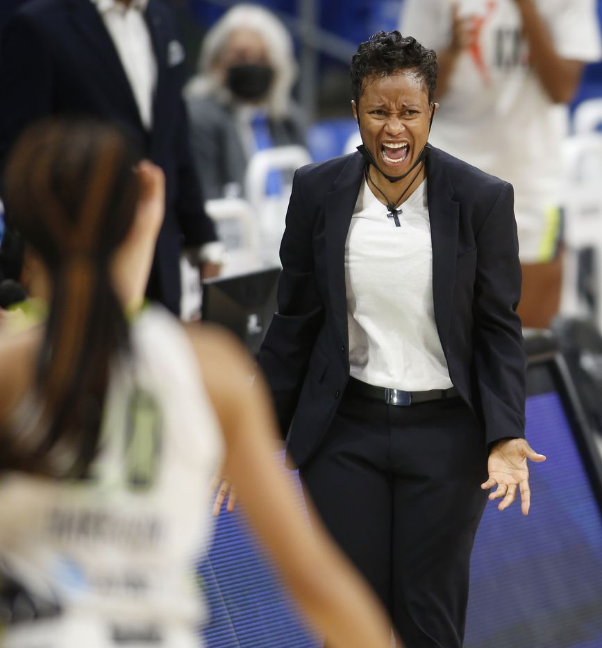 Dallas Wings head coach Vickie Johnson reacts to the outcome of a defensive play during the fourth quarter of their game against Seattle. The Wings hosted the Storm for their WNBA 2021season home opener at UTA's College Park Center in Arlington on May 22, 2021. (Steve Hamm/ Special Contributor)