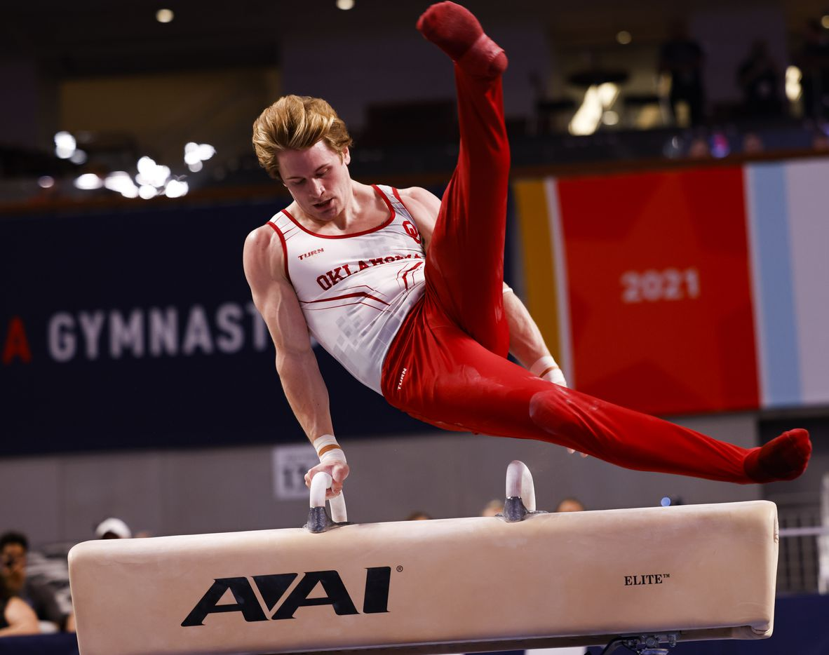 University of Oklahoma's Gage Dyer performs on the pommel horse during Day 1 of the US gymnastics championships on Thursday, June 3, 2021, at Dickies Arena in Fort Worth. (Juan Figueroa/The Dallas Morning News)