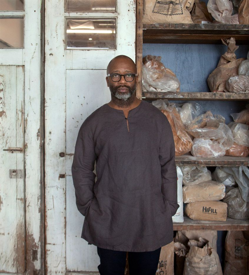 Artist Theaster Gates photographed at his studio in Chicago for The Dallas Morning News.