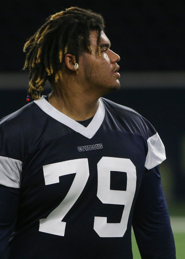 Dallas Cowboys defensive tackle Trysten Hill participates in a drill during a Cowboys minicamp practice on Tuesday, June 11, 2019 at The Star in Frisco, Texas. (Ryan Michalesko/The Dallas Morning News)