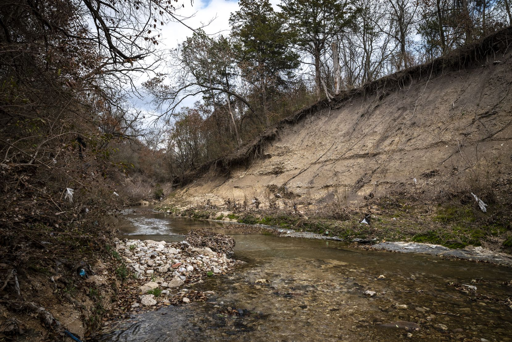 A portion of Woody Branch Creek located within the 82 acres of greenspace that the Dallas City Council voted to acquire for a future park near Interstate 35E and West Ledbetter Drive.