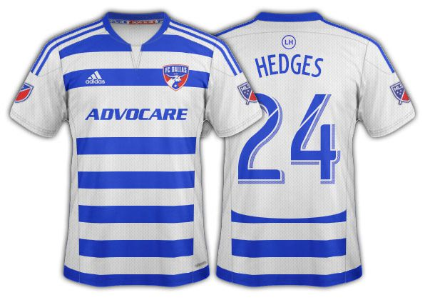 2015-16 FC Dallas blue and white hoops with solid white back and side panels secondary.