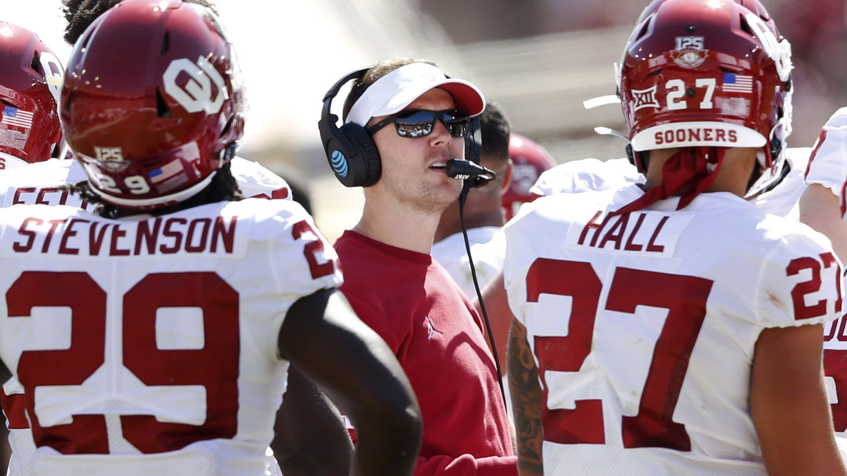 Oklahoma Sooners head coach Lincoln Riley looks at the replay in a game against Texas Longhorns during the first half of play in the Red River Showdown at the Cotton Bowl in Dallas on Saturday, October 12, 2019. (Vernon Bryant/The Dallas Morning News)